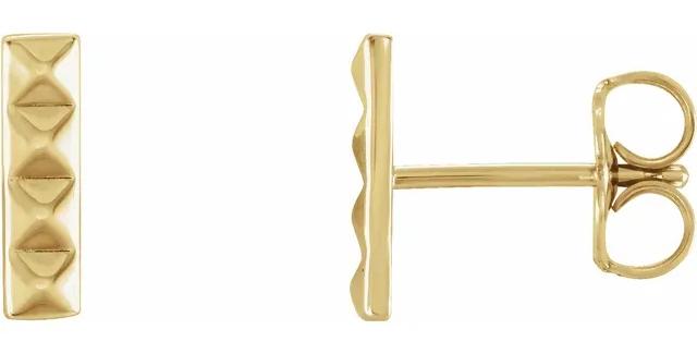 14K Yellow Gold Pyramid Bar Earrings
