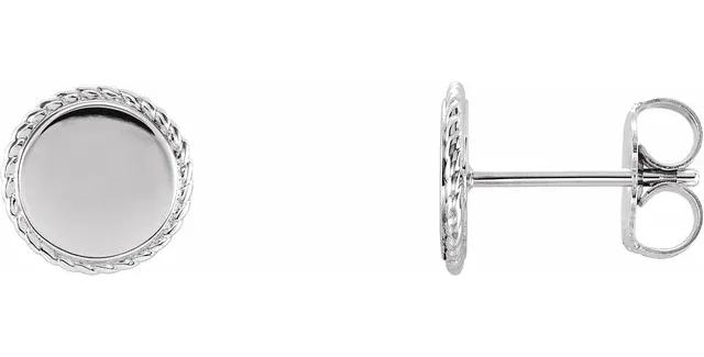 14K White Gold Engravable Rope Earrings