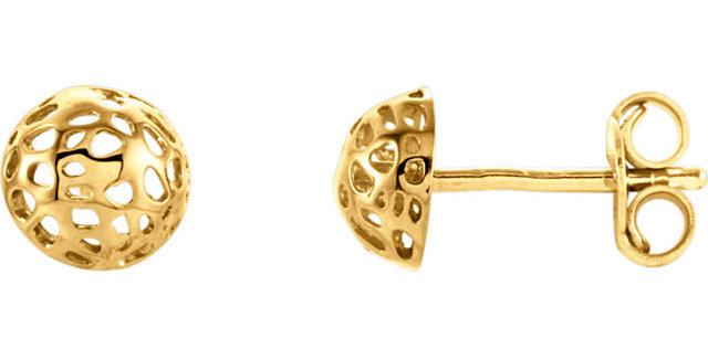 14K Yellow Gold Half Ball Textured Earrings
