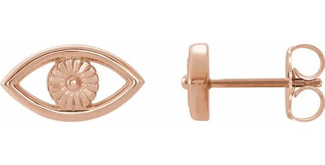 14K Rose Gold Evil Eye Earrings