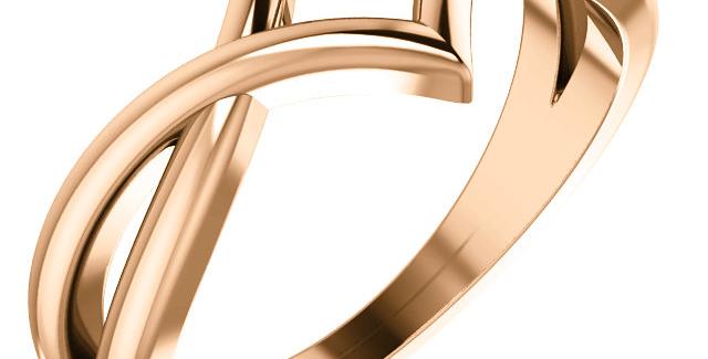 14K Rose Gold Geometric Negative Space Ring