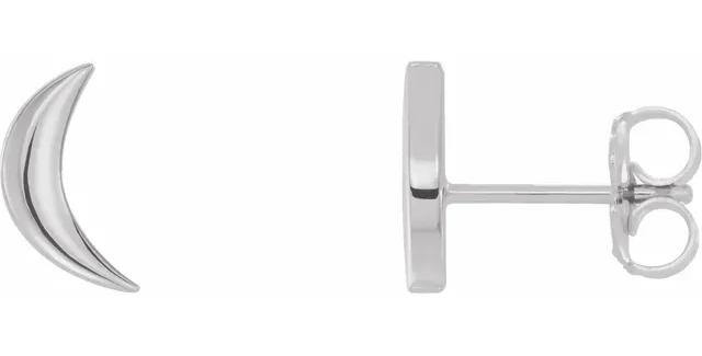 Platinum Crescent Moon Earrings