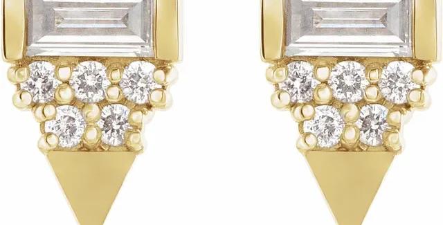 14K Yellow Gold 1/4 CTW Diamond Geometric Earrings