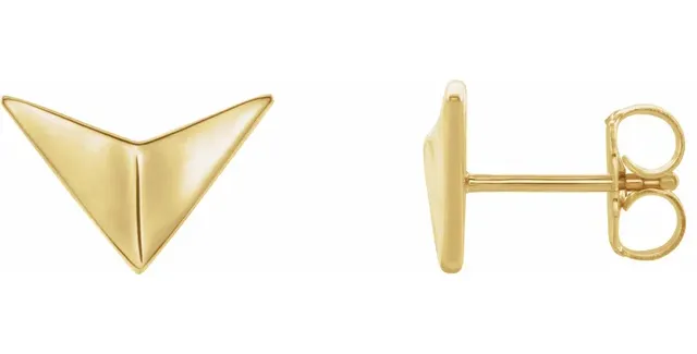 14K Yellow Gold Geometric Earrings