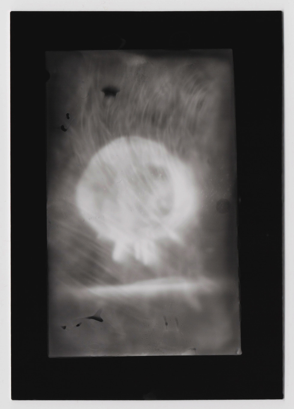 """2016  silver gelatin print  Cell phone image of Atomic Bomb exposed directly onto photo paper  4""""x5"""""""