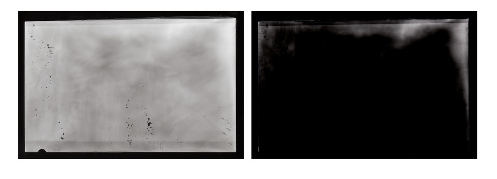 """2016  silver gelatin print  Cell phone image of Atomic Bomb exposed directly onto photo paper  4""""x5"""" ea."""