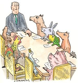 Round table of animals and a man