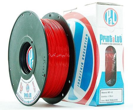 Filamento PrintaLot PETG Translúcido Vermelho - 1,75mm - 1kg