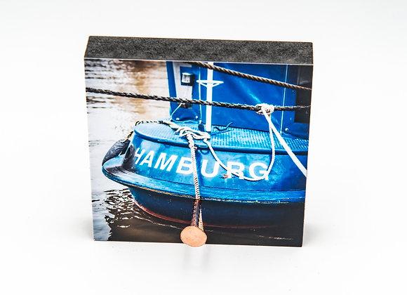 Eva Photography Mini-Quadrat Schlüsselbrett 1 Nagel Blaues Schiff Hamburg 8x8cm