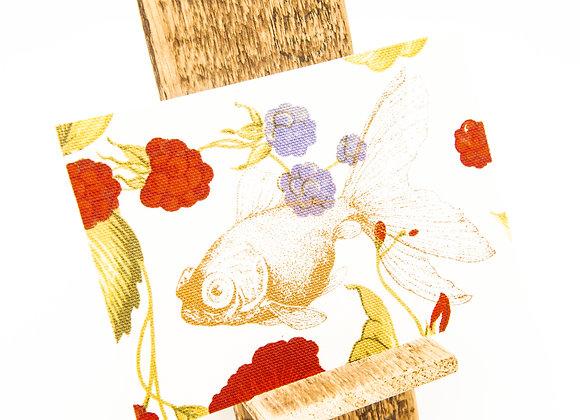 jackymatusDESIGN Stoffpostkarte Siebdruck Karte Grußkarte Goldfisch