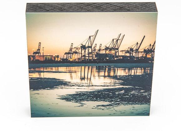 Eva Photography Quadrat Bild Hamburger Hafen Kräne Maße 10x10cm