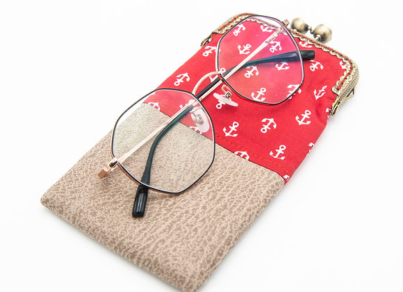 Wolea handmade Handytasche Brillenetui Maritim Anker Rot Beige