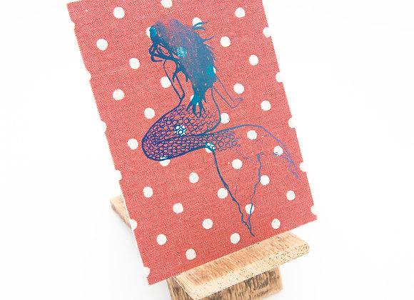 jackymatusDESIGN Stoffpostkarte Siebdruck Karte Grußkarte Meerjungfrau Unikat