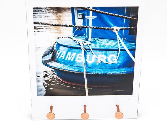 Eva Photography Schlüsselbrett 3 Nägel Blaues Schiff Hamburg Maße 13cm x 15cm