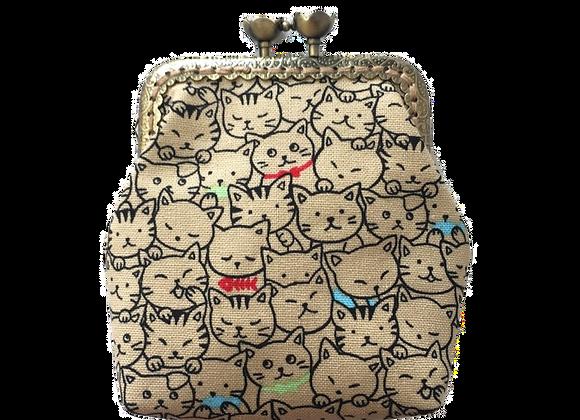 Wolea handmade Geldbörse mit Katzen Beige