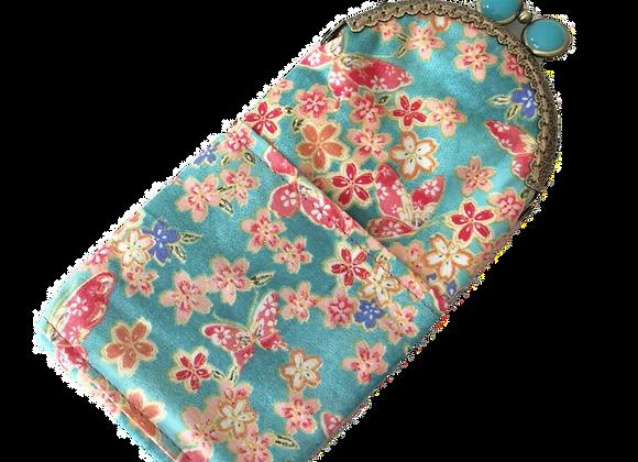 Wolea handmade Handytasche Brillenetui Türkis mit Kirschblüten