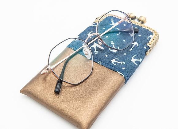 Wolea handmade Handytasche Brillenetui Anker Kupfer Blau