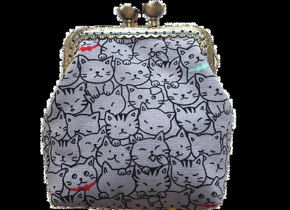 Wolea handmade Geldbörse mit Katzen Blau