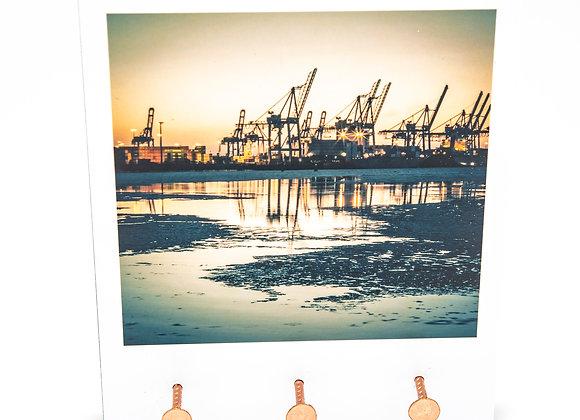 Eva Photography Schlüsselbrett mit 3 Nägeln Hamburger Hafen Kräne