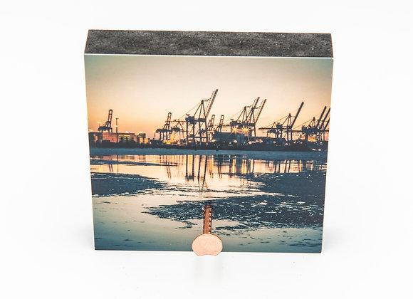 Eva Photography Mini-Quadrat Schlüsselbrett Hamburger Hafen Kräne Maße 8x8cm