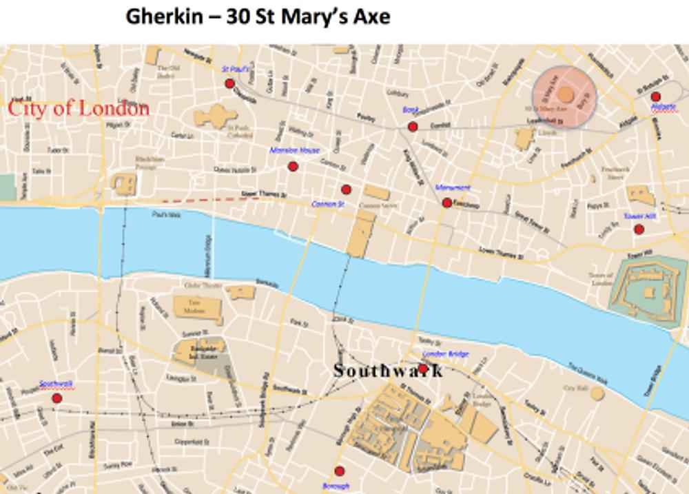 Gherkin 30 St Mary Axe map