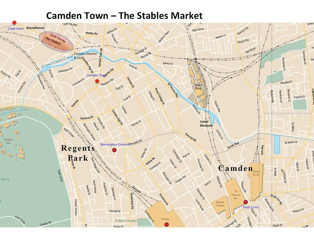 Map Camden Town - the Stables Matket