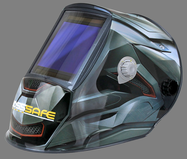 BossSafe Mega View Delta Electronic Welding Helmet 700174 In grey and black design for welding