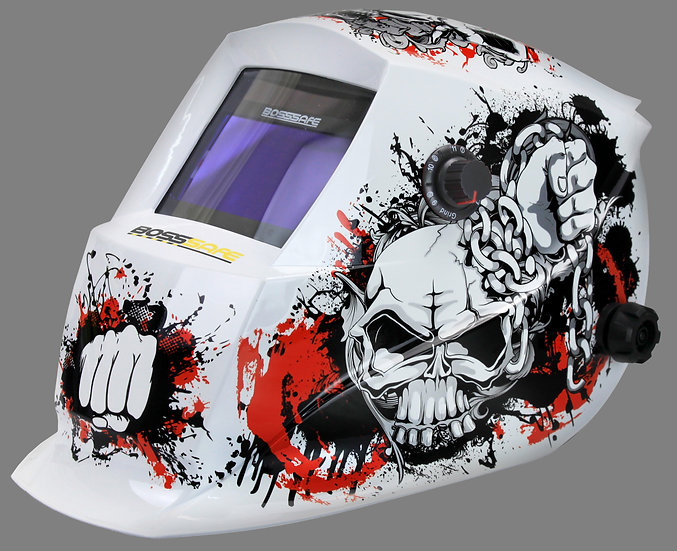 BossSafe Trade Series NEXUS Electronic Welding Helmet 700147 In a white colour with a skull design for welding