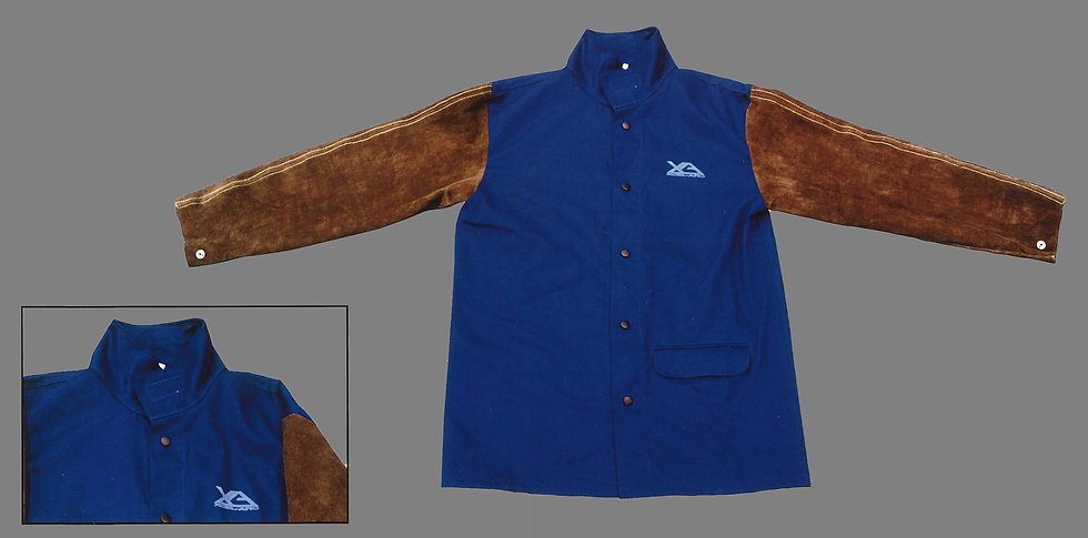 Blue FR Body Brown Leather Sleeves Welding Perth UMWJ2530XL