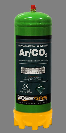 BossGas Disposable Gas Bottle Argon/CO2 Mix 2.2LT 600033 for all forms of welding