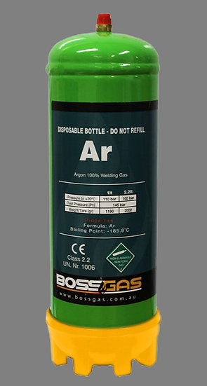 BossGas Disposable Gas Bottle Argon 2.2LT 600032 for aluminium welding machines