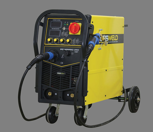 Bossweld Power Pro 250 Multiprocess600250 Welding Machine with wheels and in yellow colour