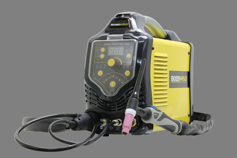 Bossweld 205 Digi Tig DC600205 in yellow and the tig torch