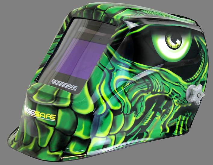 BossSafe Pro Series VENOM Electronic Welding Helmet 700152 In a green design for protection in welding