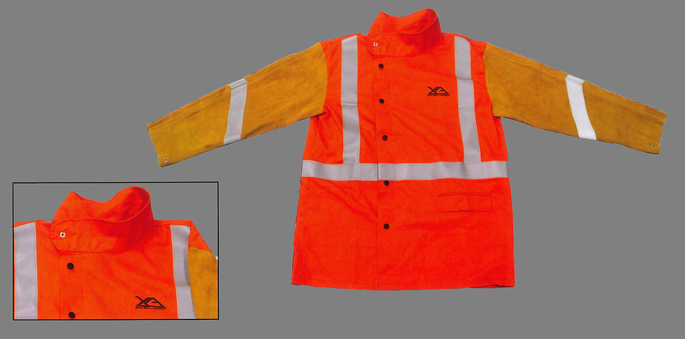 HI-VIS FR body Leather sleeves Jacket with reflective tape Industrial Welding  UMWJ2730XL