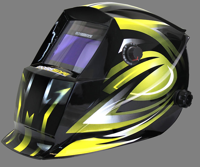 BossSafe Trade Series Electronic Welding Helmet 700146 Black and yellow design