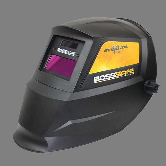 BossSafe Eco Electronic Welding Helmet Stealth 11 700140 for professional welding use