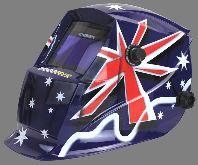 BossSafe Trade Series Patriot Electronic Welding Helmet 700143 With the australian flag design