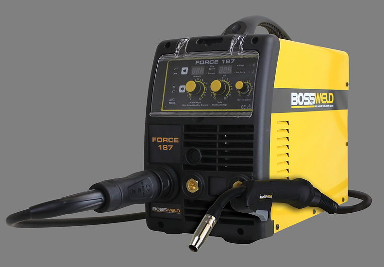 Bossweld Force 187 600187 Mig Multi function Welding machine in yellow