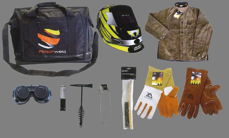 UNIMIG Apprentice Bag 3 Welding with welding helmet and accessories UMAB3