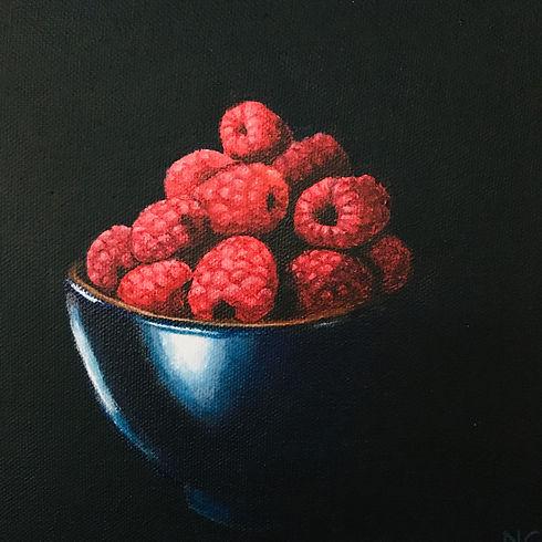 Raspberries in Blue Bowl