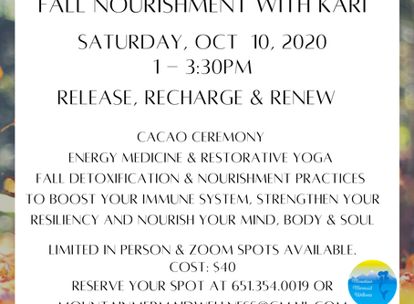 Reserve Your Spot for the Fall Nourishment Workshop with Kari on October 10th