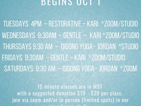 October Yoga Schedule