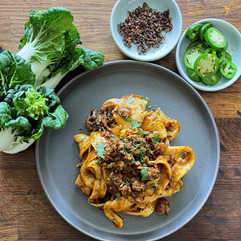 Hand pulled Noodles with Cumin Lamb Sauce