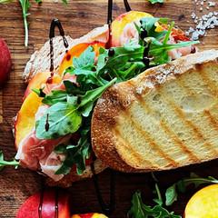 Grilled Peach Caprese w/ Prosciutto Sandwich