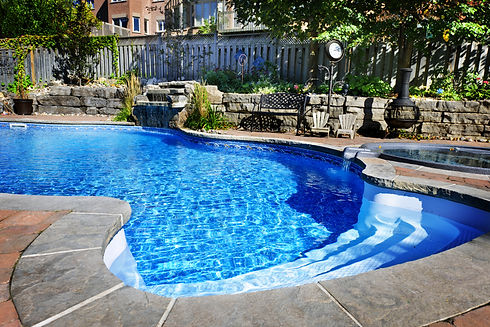 Residential inground swimming pool in ba