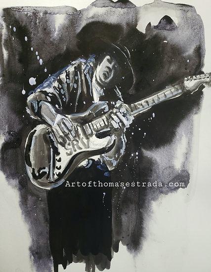 "ORIGINAL ""SRV in Ink"" 11x14 Painting"