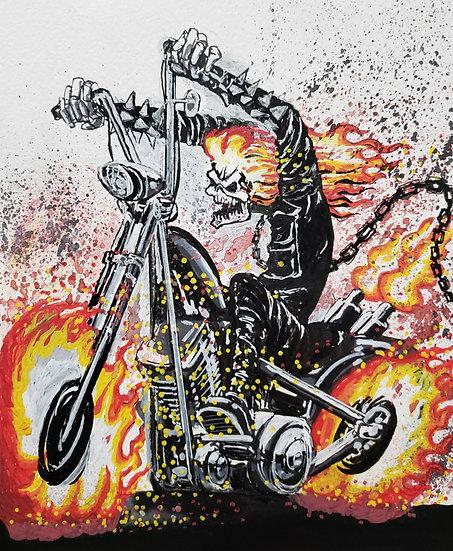 ORIGINAL 8x10 Ghost Rider Illustration.