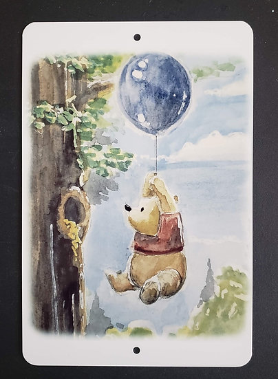 8x12 Aluminum Sign: Pooh Balloon
