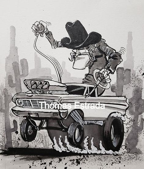 ORIGINAL 9x12  Ranchero Illustration.